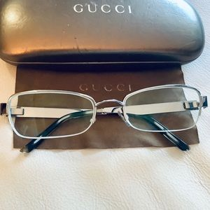 Gucci Gunmetal Grey Glasses/ Frames, Case, Box
